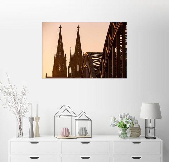 Posterlounge Wandbild »Kölner Dom und die Hohenzollern-Brücke bei So...«