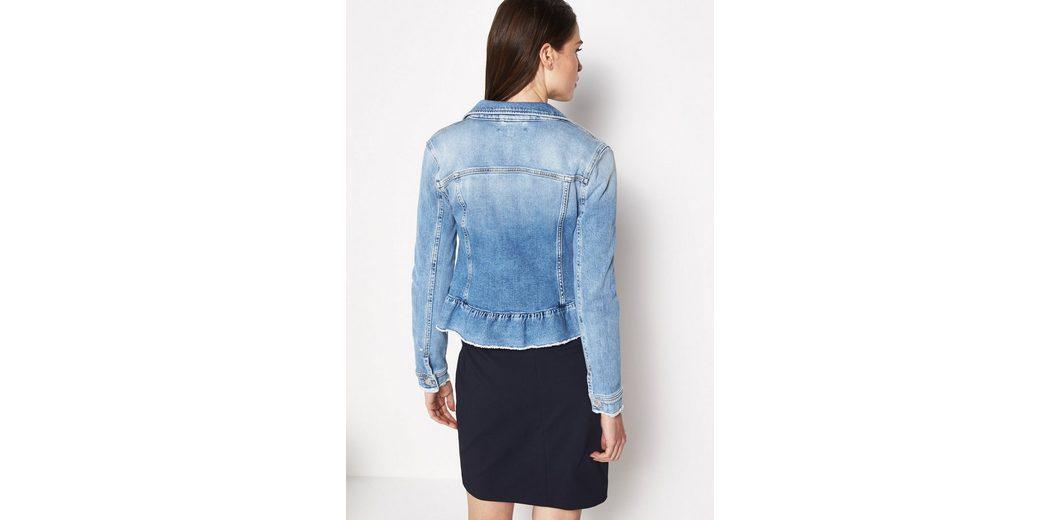 COMMA Denim-Jacket mit Schößchen-Volant Manchester Große Online-Verkauf 5uYXxKblxq
