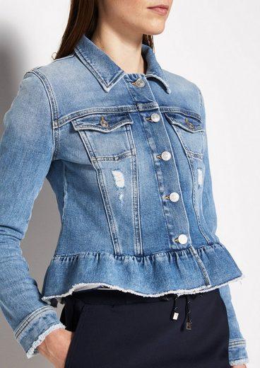 COMMA Denim-Jacket mit Schößchen-Volant