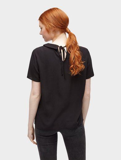 Tom Tailor Denim Shirtbluse Bluse mit Einsatz aus Spitze