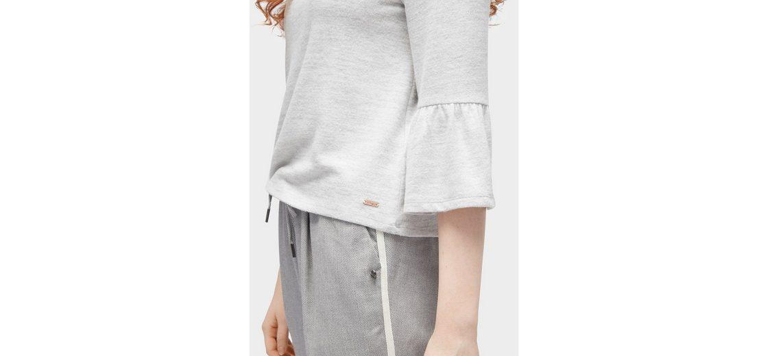Tom Tailor Denim Sweater 3/4 Arm Shirt mit Volantärmeln Spielraum Marktfähig Mit Paypal Freiem Verschiffen zk3uLj