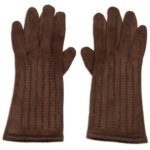 Caspar Strickhandschuhe »GLV011 klassisch elegante Damen Handschuhe mit Strass Dekor und Touchscreen Funktion«
