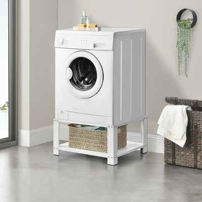 en.casa Waschmaschinenumbauschrank Waschmaschinen-Untergestell Trockner Sockel mit Ablage max. bis 150kg