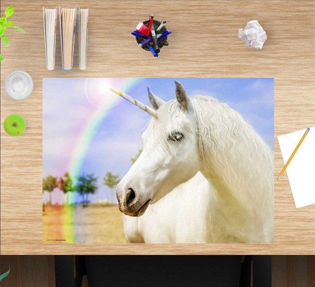 Kindertische - cover your desk.de Schreibtischaufsatz »Schreibtischunterlage für Kinder – Weißes Einhorn – 60 x 40 cm – aus hochwertigem Vinyl«, (1 St)  - Onlineshop OTTO