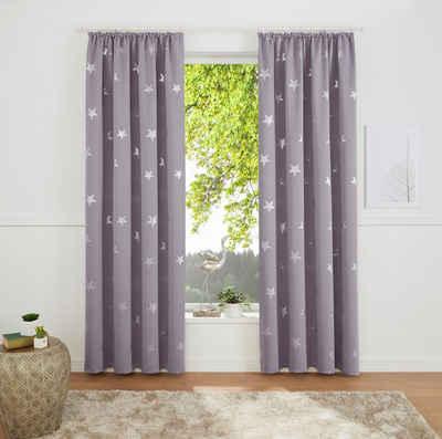 Gardine »Blackout Curtain With Foil Print Star«, my home, Kräuselband (1 Stück)