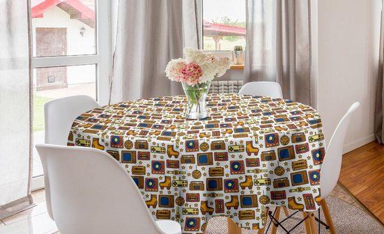 Abakuhaus Tischdecke »Kreis Tischdecke Abdeckung für Esszimmer Küche Dekoration«, Jahrgang 90s Retro Theme