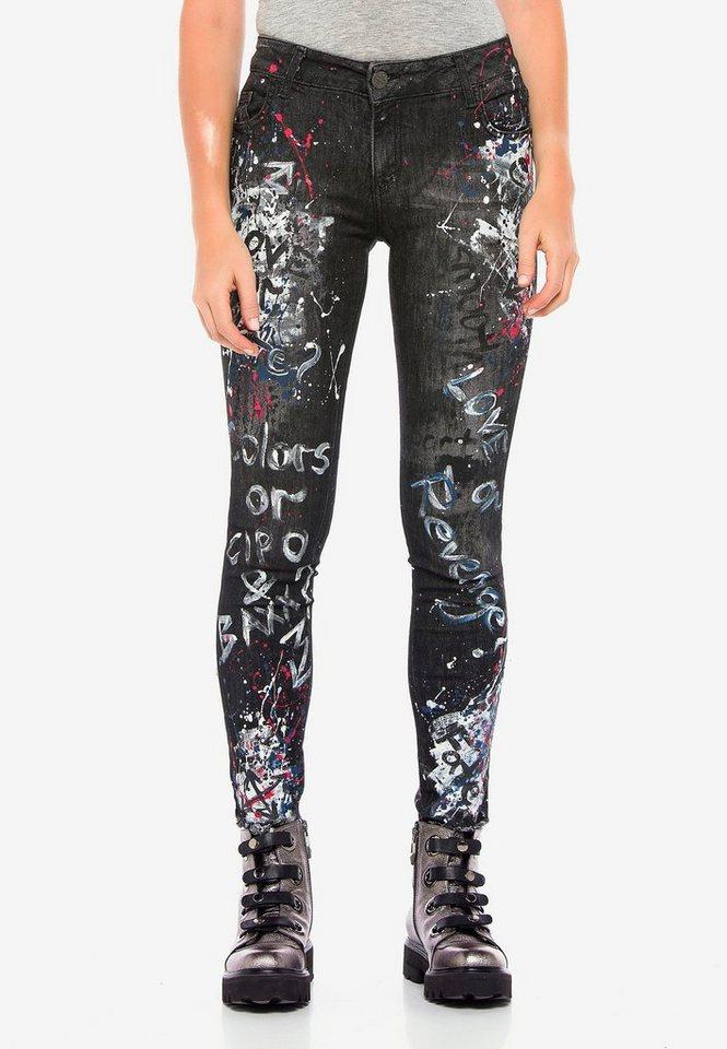 cipo & baxx -  Bequeme Jeans »WD389« mit einzigartigen Paint-Elementen