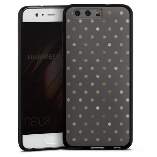 DeinDesign Handyhülle »braungoldene Pünktchen auf grau« Huawei P10, Hülle Polka Dots Punkte Pattern