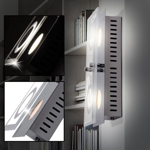 WOFI Deckenstrahler, LED Decken Leuchte Wohnraum Wand Lampe Glas Strahler silber 2-flg A+ WOFI 7475.02.01.0000