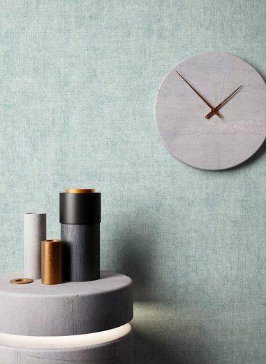 Newroom Vliestapete, Blau Tapete Struktur Modern - Uni Türkis Grün Monochrom Schlicht für Schlafzimmer Küche Wohnzimmer