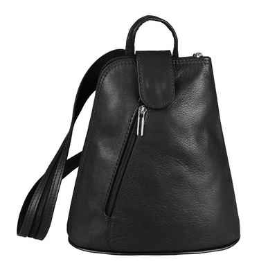 ITALYSHOP24 Rucksack »Made in Italy Damen Leder Tasche Schultertasche«, kleiner Rucksack, Umhängetasche / Handtasche tragbar