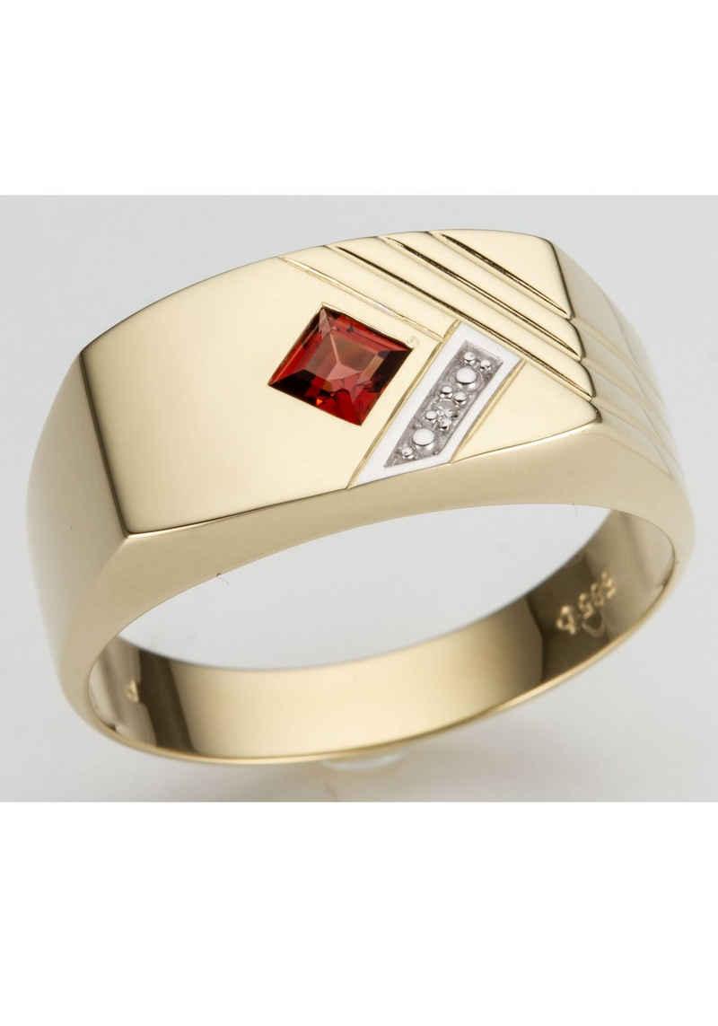 Firetti Diamantring »glanz, bicolor, Diamantschnitte«, mit Granat und Brillant