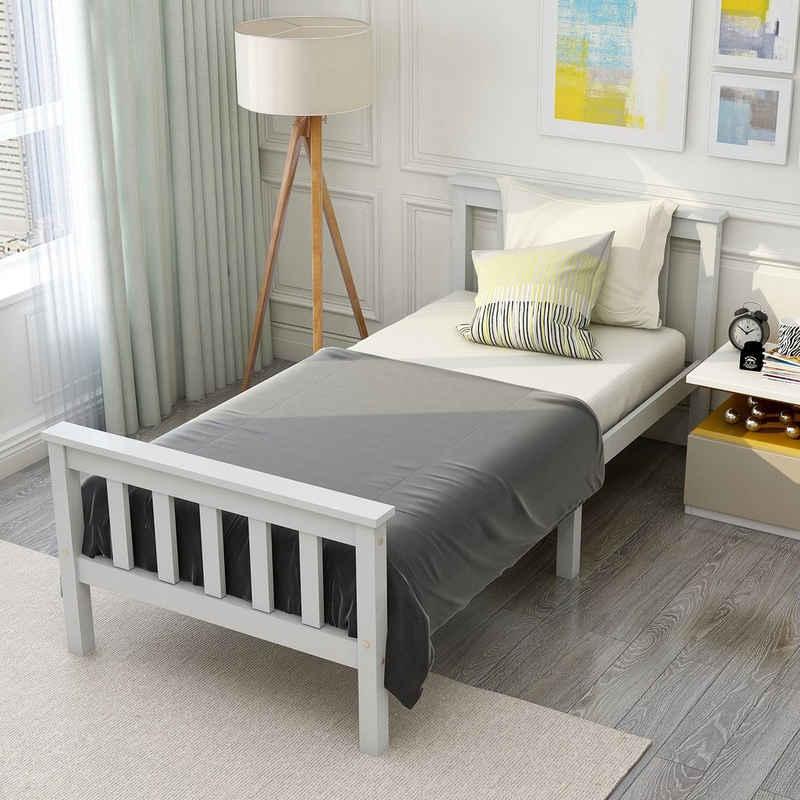 PHOEBE CAT Einzelbett, Holzbett Jugendbett aus Bettgestell mit Lattenrost und Kopfteil, 90 x 200 cm, Weiß