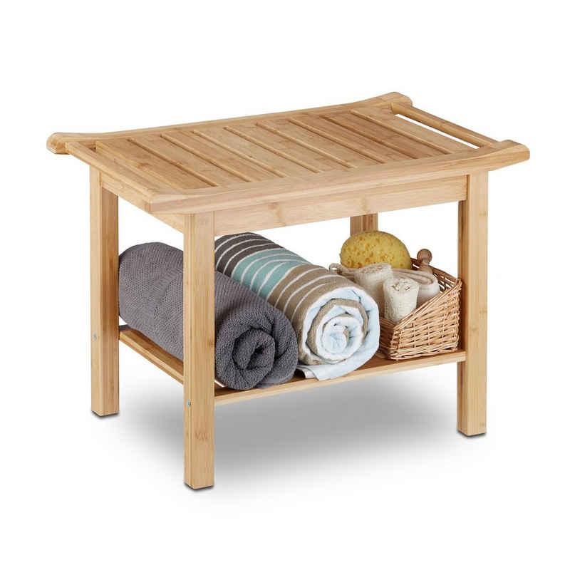 relaxdays Sitzbank »Badezimmer Bank Bambus«
