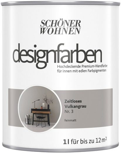 SCHÖNER WOHNEN-Kollektion Wand- und Deckenfarbe »Designfarben«, hochdeckend, Zeitloses Vulkangrau, matt, 1 l