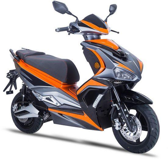 GT UNION E-Motorroller »eStriker 45 km/h«, 3000 W, 45 km/h, Euro 6, USB Ladedose für Handy, Navi etc.