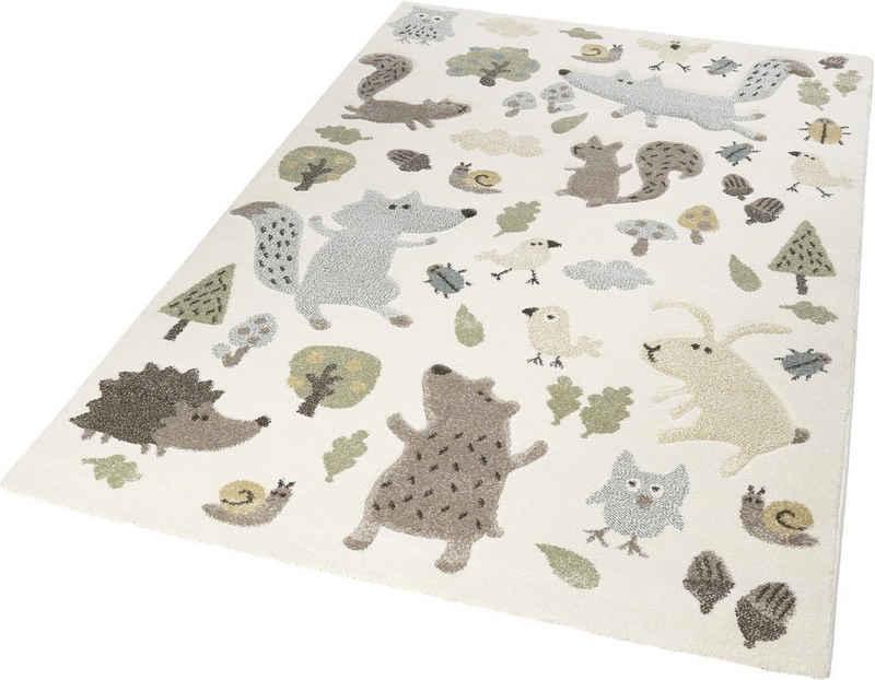 Kinderteppich »Forest«, Sigikid, rechteckig, Höhe 13 mm, Wald Tiere Design, Kurzflor