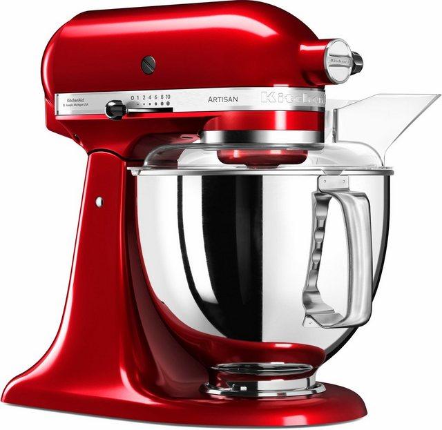 KitchenAid Küchenmaschine Artisan 5KSM175PSECA, 300 W, 4,8 l Schüssel, mit Gratis Wasserkocher, 2. Schüssel, Flexirührer. Farbe Liebesapfel-rot