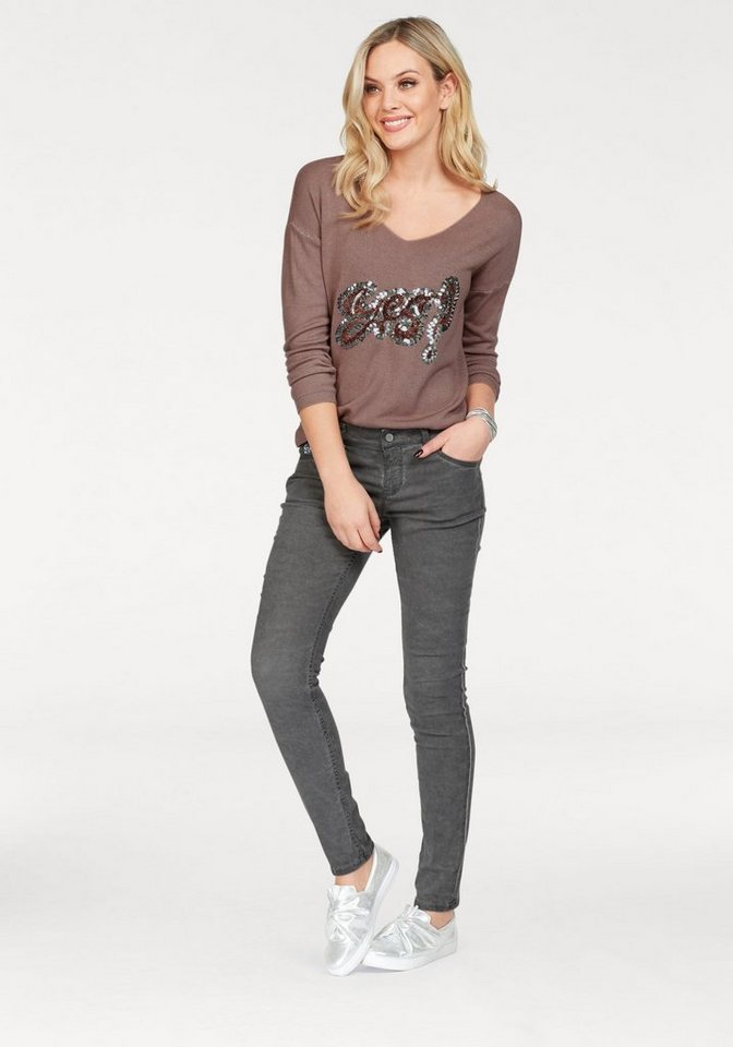 ZABAIONE V-Ausschnitt-Pullover »SILVIA« mit Pailletten