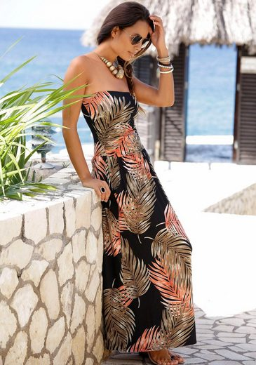 LASCANA Maxikleid mit Palmen-Alloverprint