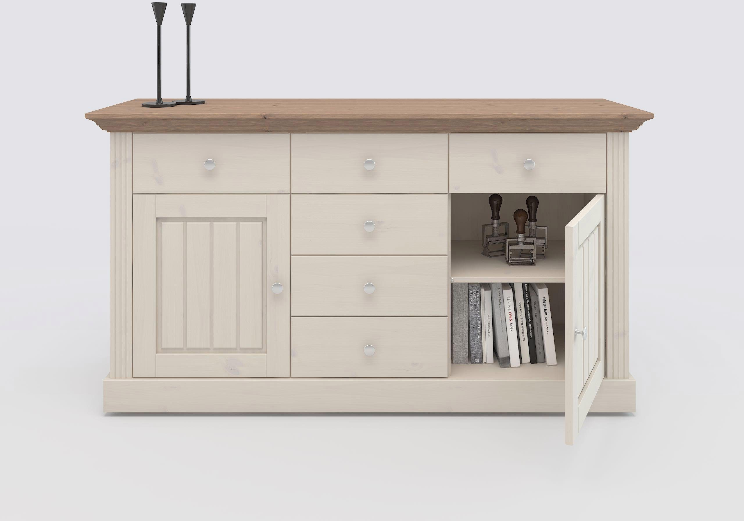 Home affaire Sideboard »Skanderborg«, Breite 145 cm, mit 5 Schubladen und 2 Türen