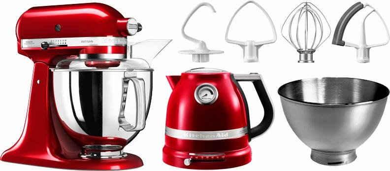 KitchenAid Küchenmaschine Artisan 5KSM175PSECA, 300 W, 4,8 l Schüssel, mit Gratis Wasserkocher, 2. Schüssel, Flexirührer. Farbe: Liebesapfel-rot