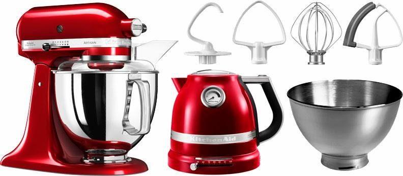 KitchenAid Küchenmaschine Artisan 5KSM175PSECA mit Gratis Wasserkocher, 2. Schüssel, Flexirührer, 300 W, 4,83 l Schüssel