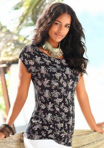 LASCANA Strandshirt mit Allover-Blumendruck