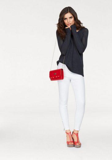 Vero Moda V-Ausschnitt-Pullover KAKI, mit Schlitzen