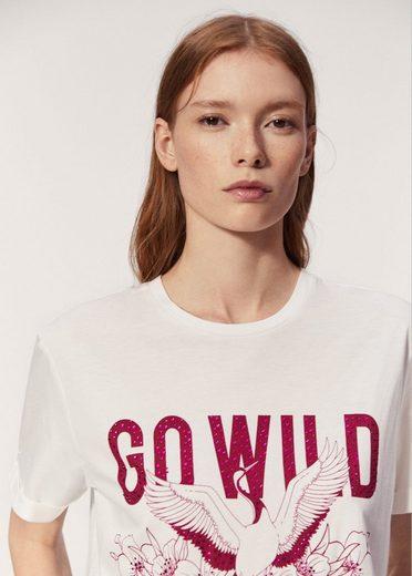 MANGO Gemustertes T-Shirt mit Strassverzierung