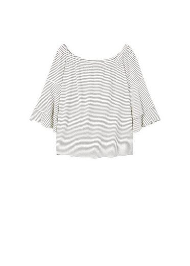 VIOLETA by Mango Off-Shoulder T-Shirt mit Texturmuster