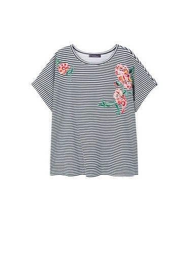VIOLETA by Mango Gestreiftes T-Shirt mit Stickerei