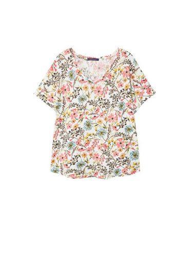 VIOLETA by Mango Leinen-T-Shirt mit Blumenmotiv