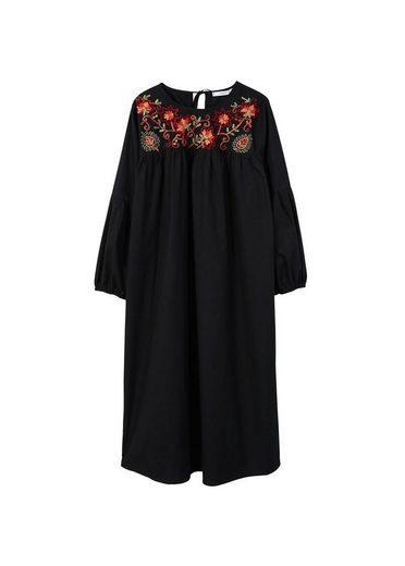 MANGO Kleid mit floraler Stickerei