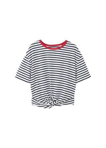 MANGO Gestreiftes Shirt mit Knotendetail