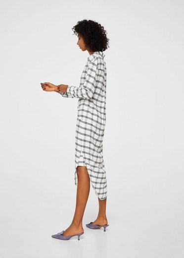 MANGO Kariertes Kleid mit Gürtel