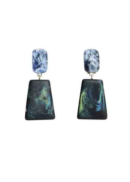 VIOLETA by Mango Ohrringe mit geometrischen Steinen