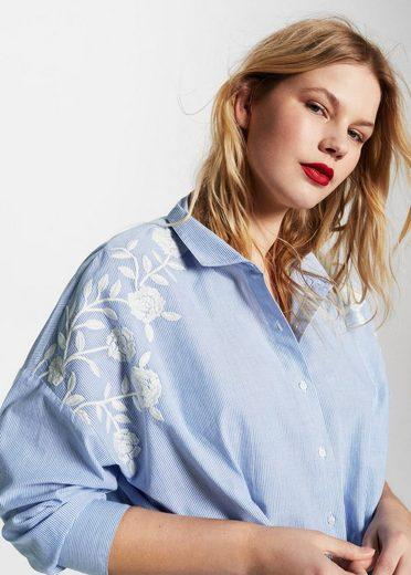 VIOLETA by Mango Besticktes Hemd mit feinen Nadelstreifen