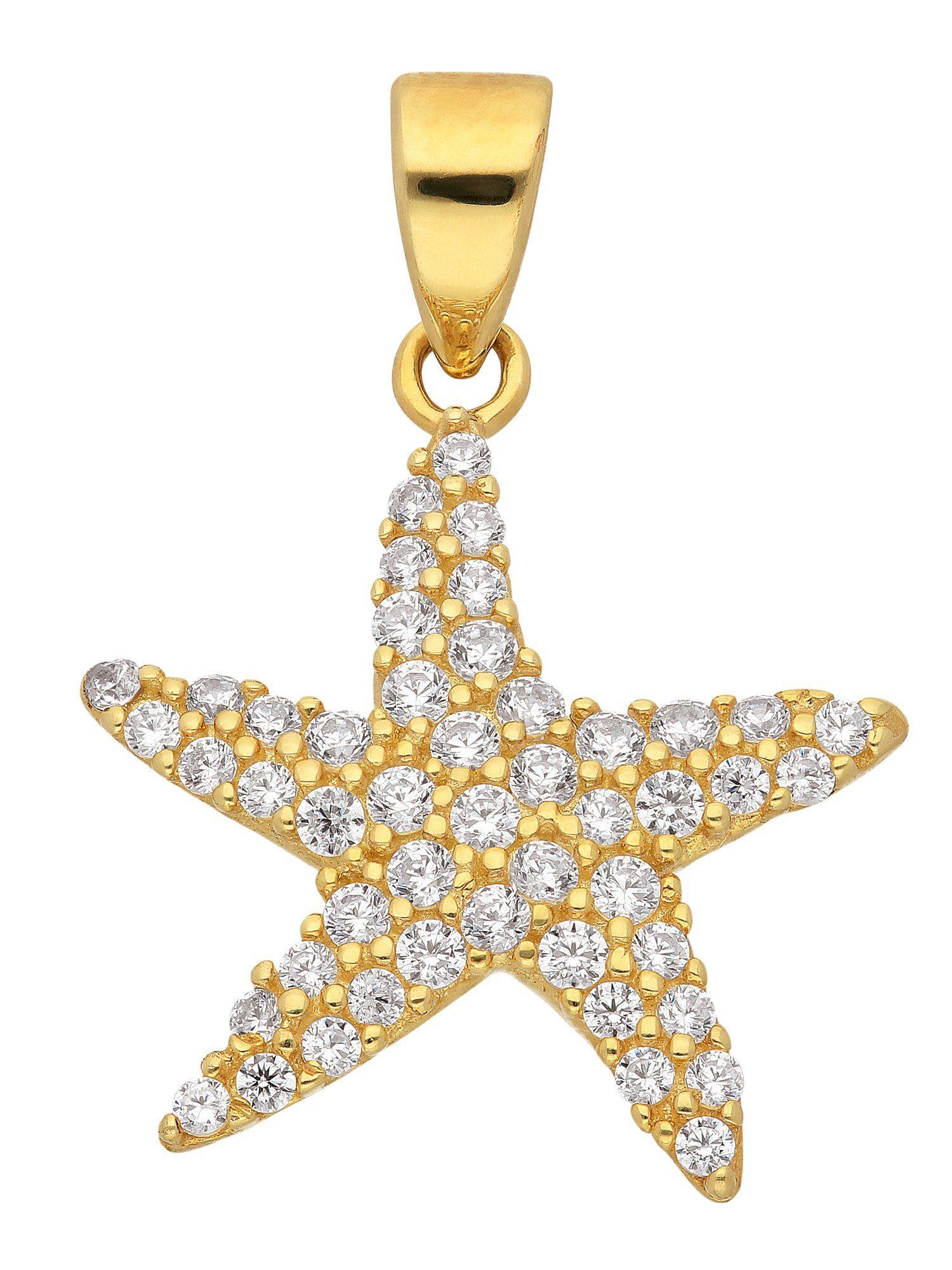 Adelia´s Kettenanhänger »Gold Anhänger«, Seestern 8 k 333 Gelbgold mit Zirkonia