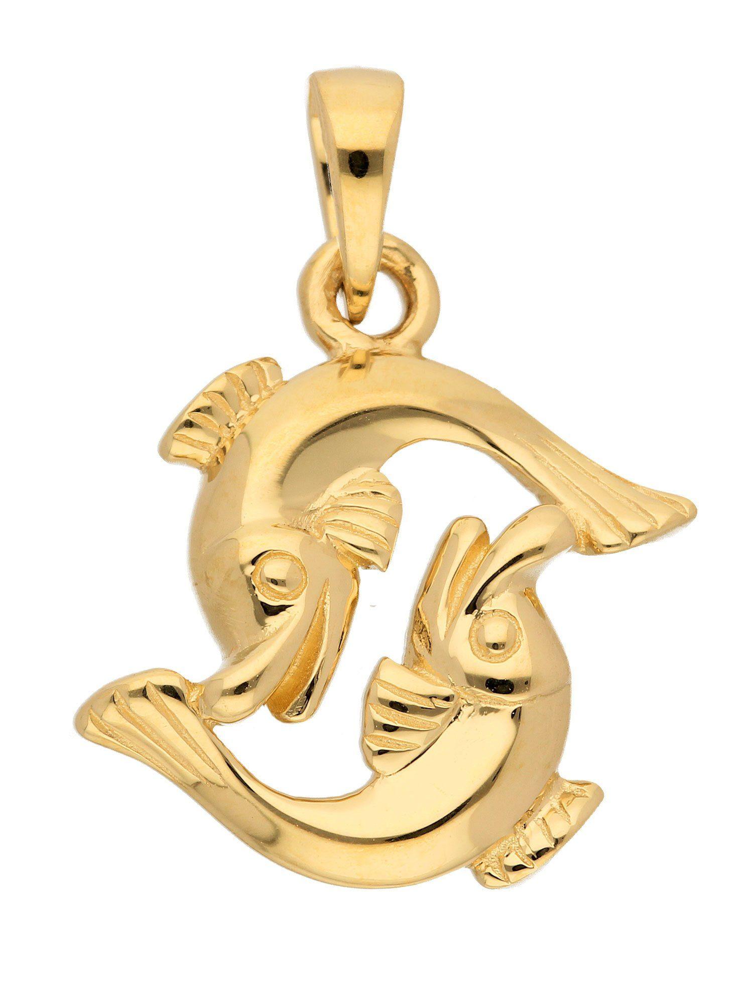 Adelia´s Kettenanhänger »Sternzeichen Gold Anhänger«, 14 k 585 Fisch