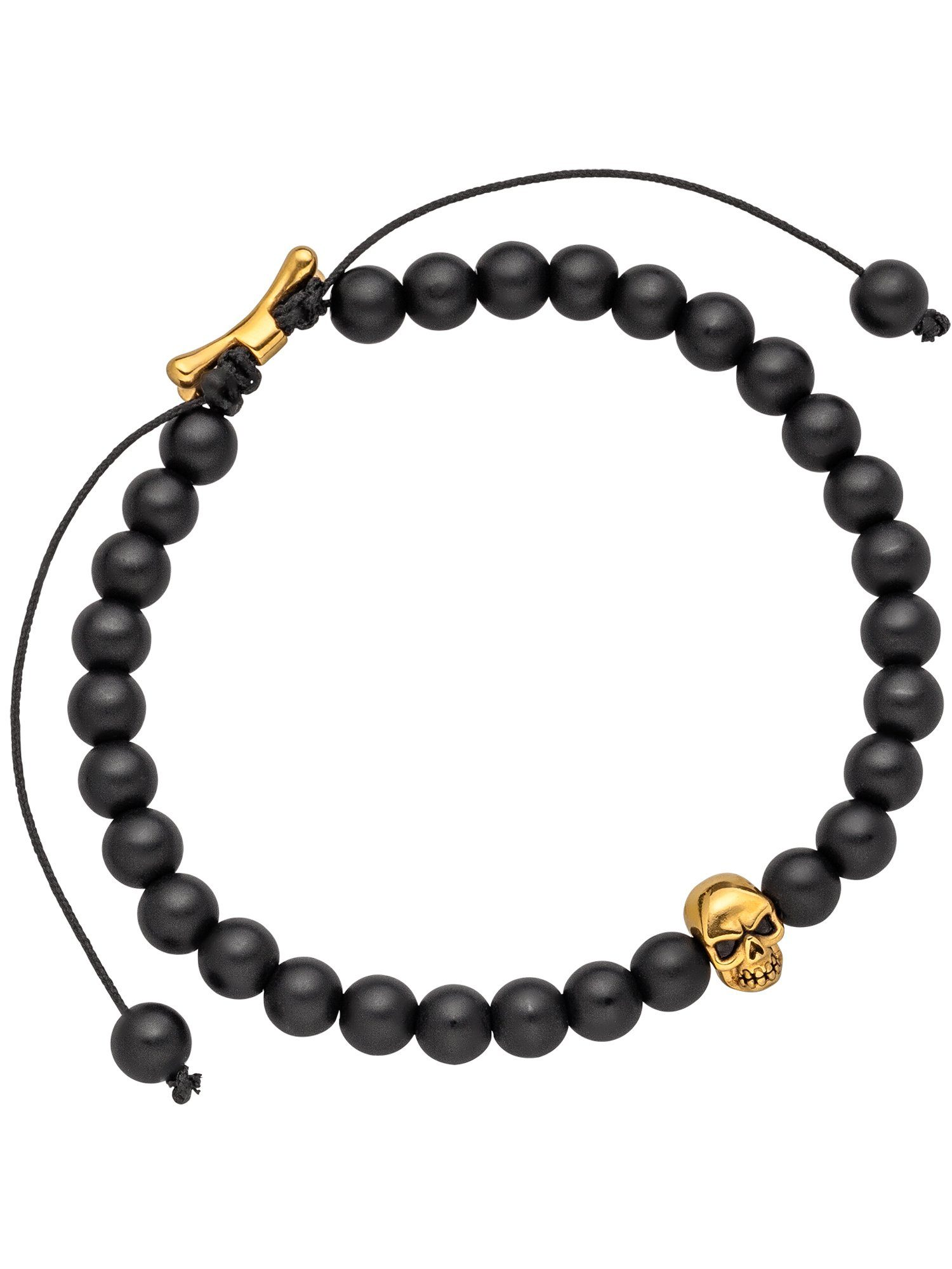 Adelia´s Armband »Totenkopf« Edelstahl mit Onyx L - 19.5 cm