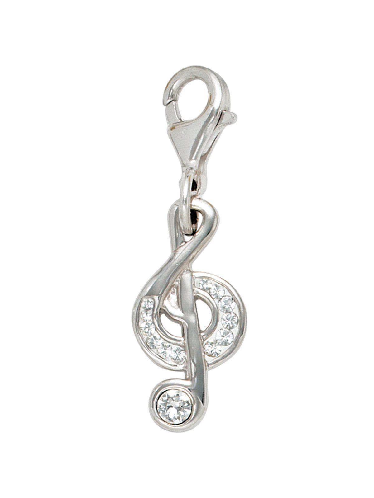 Adelia´s Kettenanhänger »Notenschlüssel Anhänger« 925 Silber mit Swarovski Kristall