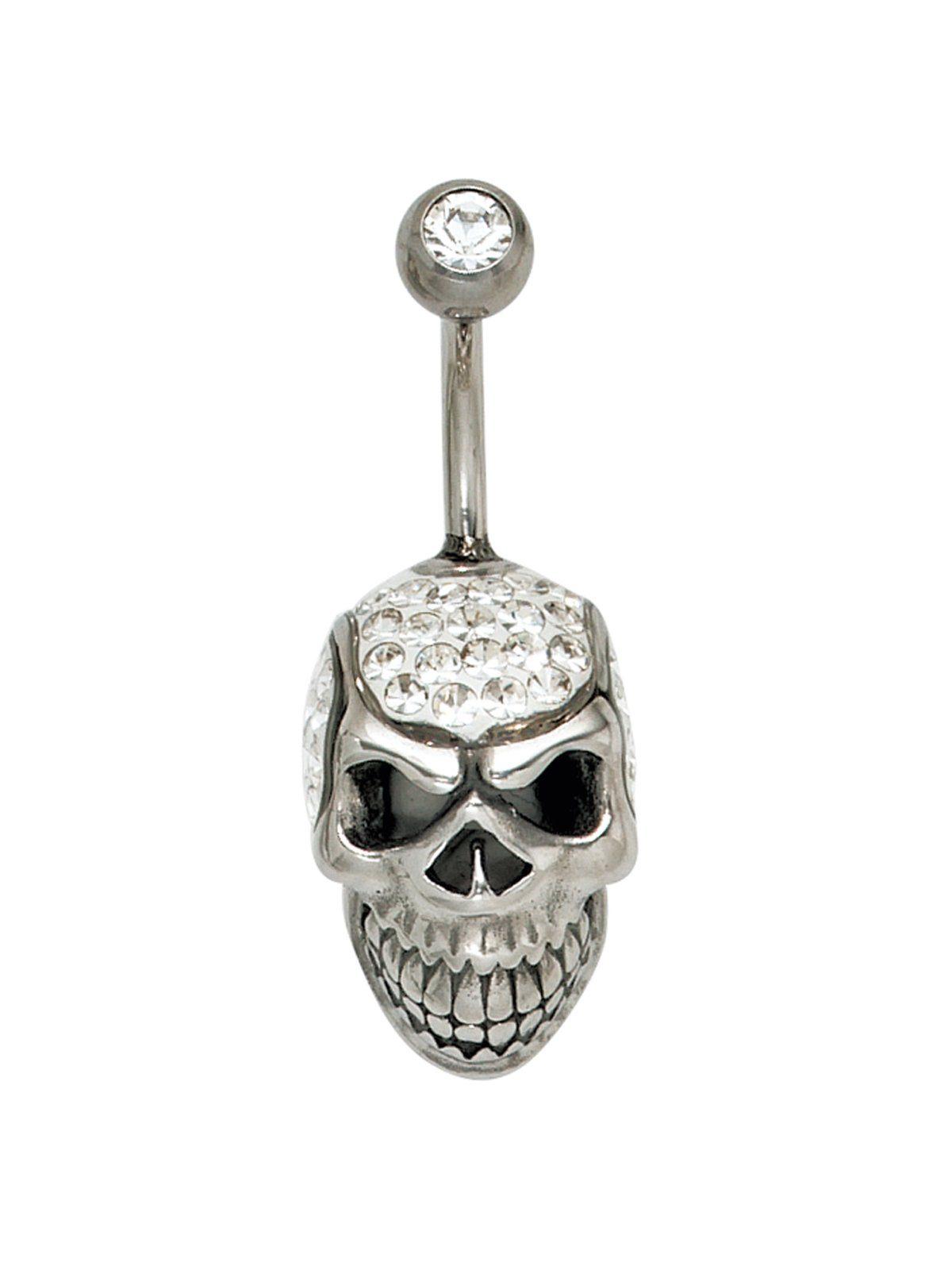 Adelia´s Bauchnabelpiercing »Totenkopf«, 925 Silber mit Swarovski Kristall