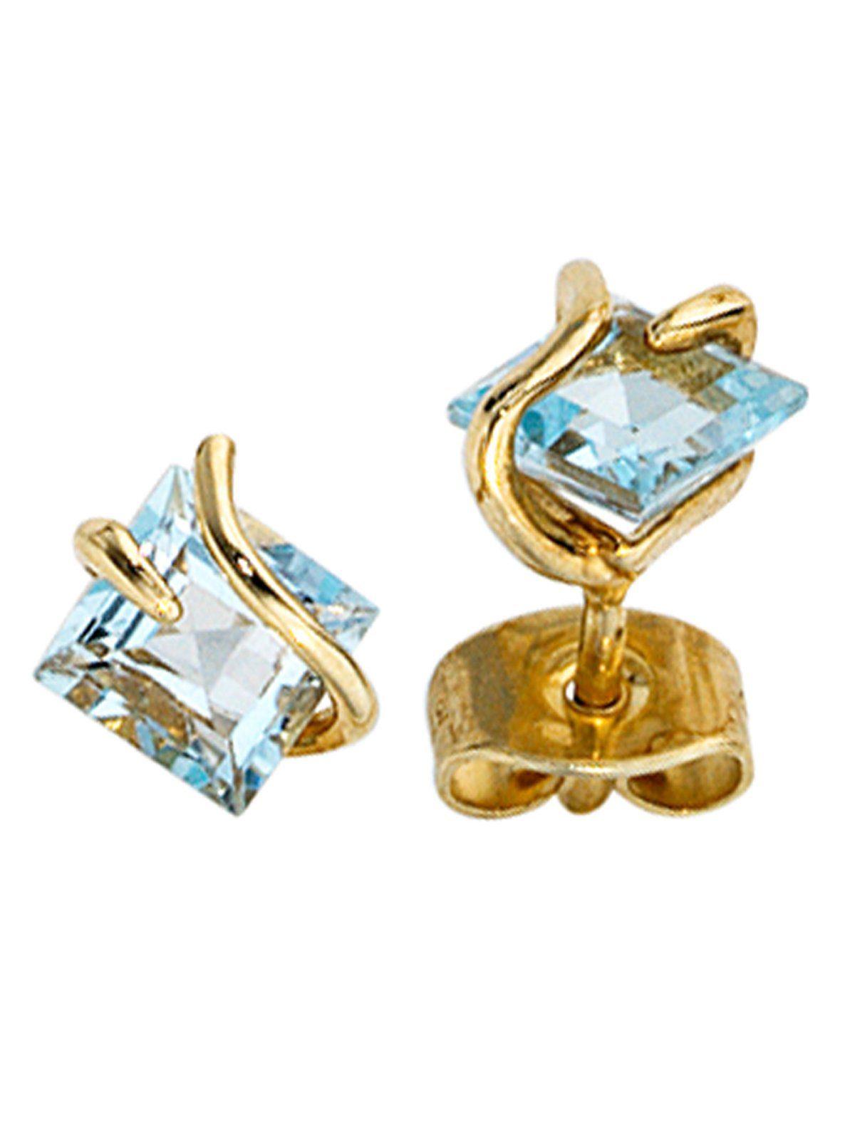 Adelia´s Paar Ohrstecker, 375 Gold mit Topas