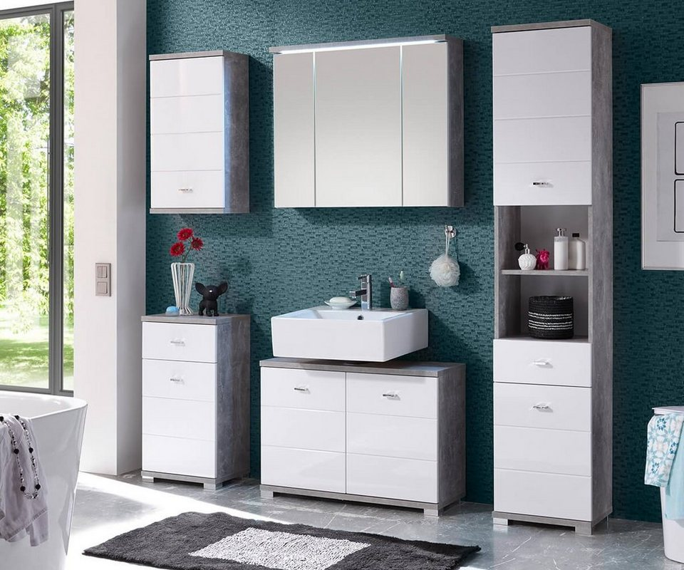 delife badezimmer petre weiss grau 200 cm beton optik. Black Bedroom Furniture Sets. Home Design Ideas