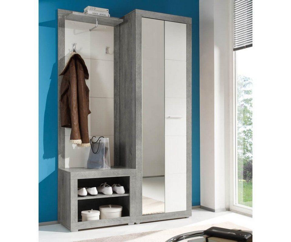delife garderobe shandor weiss hochglanz grau 120x195. Black Bedroom Furniture Sets. Home Design Ideas