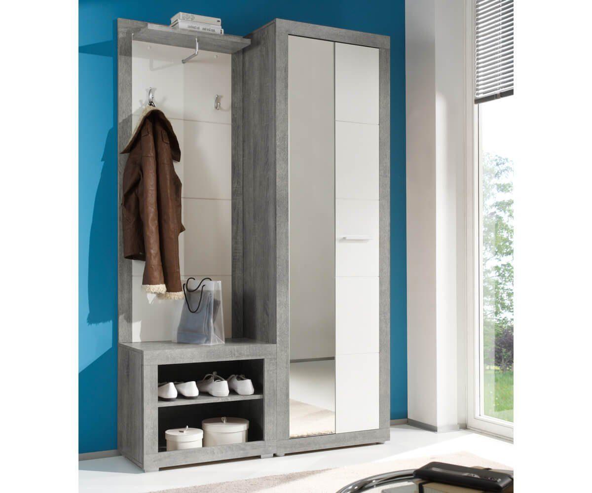 DELIFE Garderobe Shandor Weiss Hochglanz Grau 120x195