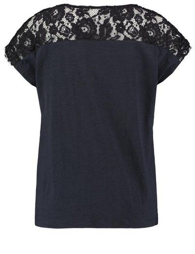 Taifun T-Shirt Kurzarm Rundhals Shirt mit Spitze