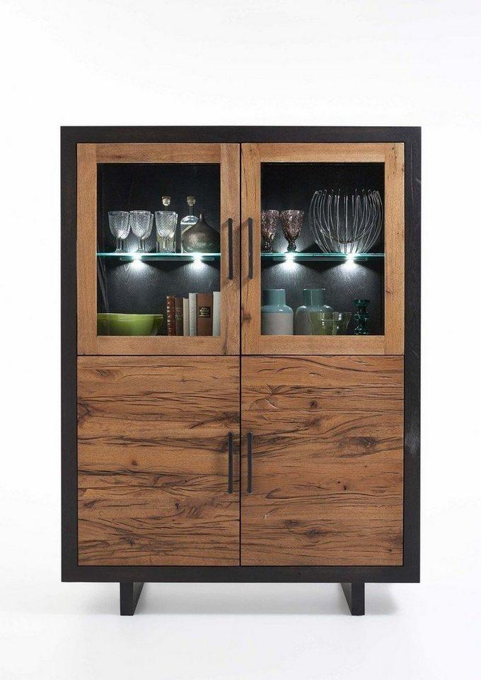Kasper-Wohndesign  Highboard Massivholz mit oder ohne Beleuchtung GONA braun | 04250385967801