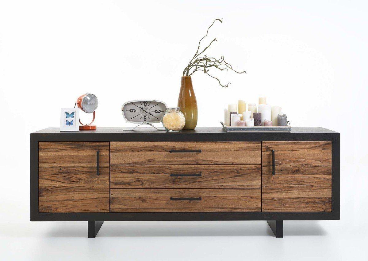 Kasper-Wohndesign  Sideboard Massivholz 3 Schubladen und 2 Türen GONA braun | 04250385967825
